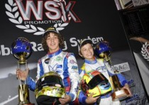 boccolacci f energy tm kf and norris gb fa kart vortex kfj achieve the superpole of the second round of the wsk master series sarno italy