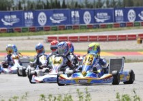 the cik fia european championship at the motorland aragon of alcaniz barnicoat artgp tm and convers kosmic vortex are pole kf norris fa kart vortex and raspatelli tony parilla kfj