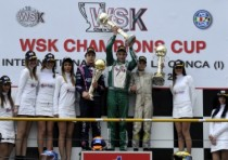 the first winners of the wsk champions cup at conca richard verschoor nl exprit vortex kf christian lundgaard dk tony kart vortex kfj and luigi coluccio lenzo kart lke k60 mini