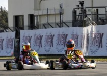 final sprint for the wsk champions cup muro leccese with basz pl kosmic vortex kf and hauger n crg lke kfj pole position