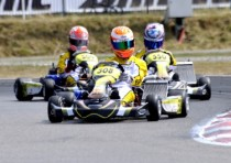 the pre finals of the european cik fia kz and kz2 championship genk b the pole sitters are puhakka fin crg maxter kz johansson s energy tm kz2 and lloveras parolin fim academy